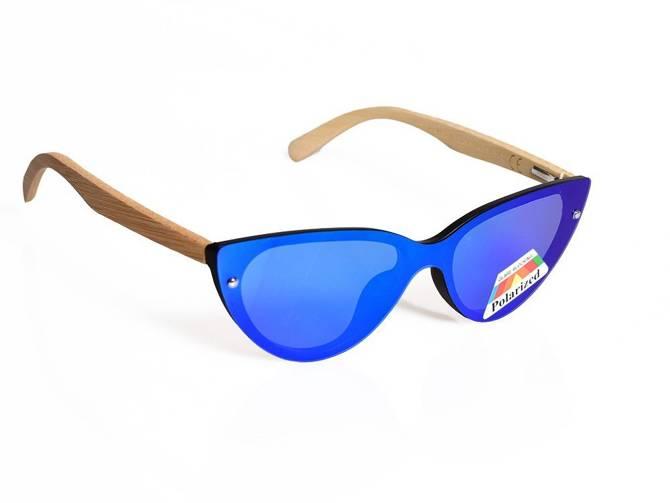 Okulary Damskie Drewniane Polaryzacyjne Przeciwsłoneczne Nerdy Lustrzanki