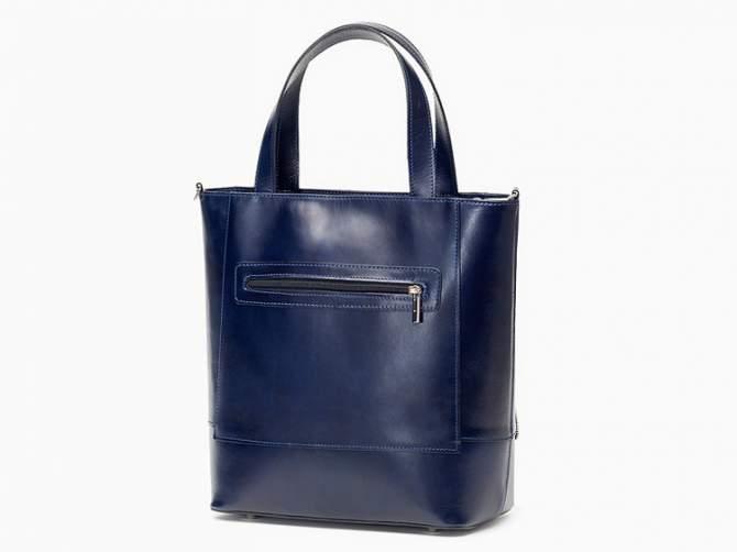 Włoska Torebka Vera Pelle Shopperka Skóra Blue T12